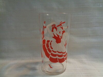 Vintage Spanish Flamingo Dancers Glass