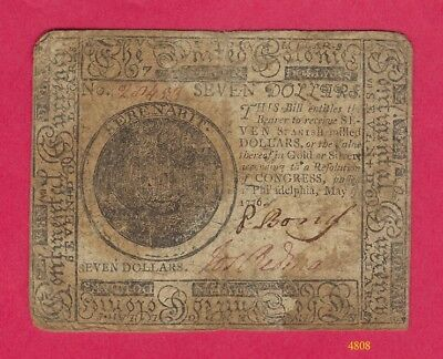 The United Colonies - Continental Currency -Seven Dollars -Hall and Sellers 1776