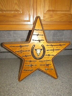 Antique Barbed Wire Display STAR TEXAS cuts of Authentic Barbwire and Horseshoe