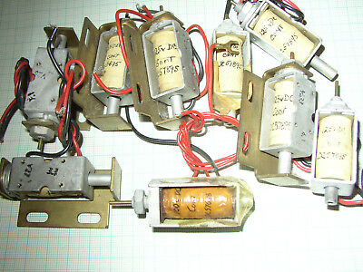 Nine solenoids, 100/125V dc,  untested, coil resistance checked