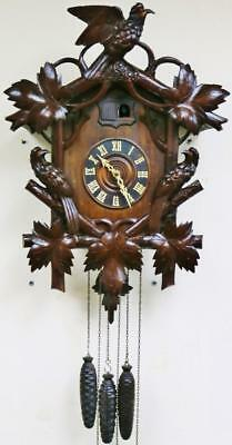 Rare Antique Black Forest 3 Weight 1/4 Striking Carved Cuckoo & Quail Wall Clock