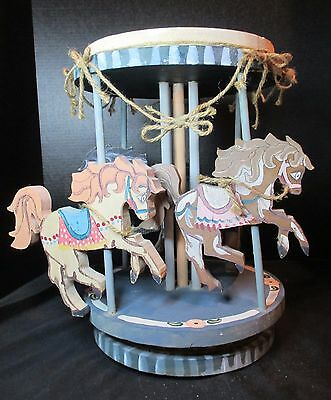 """Merry Go Round Carousel Wooden Handmade Horses Very old Hand Painted 15"""" Tall"""