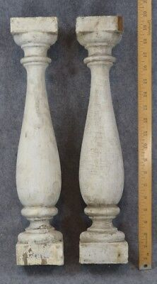 antique posts turned wood grungy balusters white paint architectural original