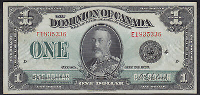 1923 Dominion Of Canada 1 Dollar Bank Note Black Seal Clark
