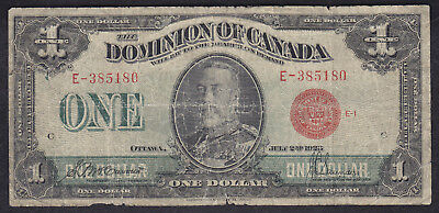 1923 Dominion Of Canada 1 Dollar Bank Note Red Seal