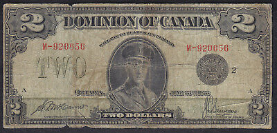 1923 Dominion Of Canada 2 Dollars Bank Note Black Seal Saunders