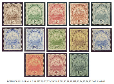 BERMUDA 1922-24 MLH POST STAMPS GREAT VALUE 13pcs COMPLETE SET EXC RARE
