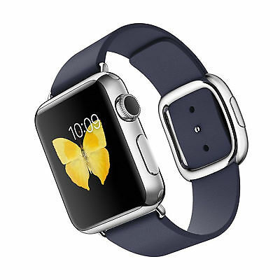 Apple Watch 38mm Stainless Steel Case with Midnight Blue Modern Buckle (Small)