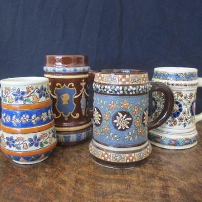 4x ART NOUVEAU THOUNE THUN SWISS MAJOLICA FAIENCE POTTERY BEER STEINS / MUGS