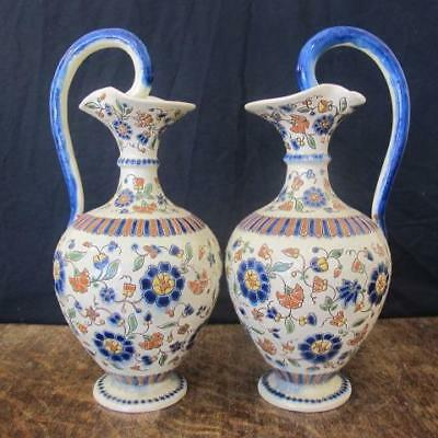 Art Nouveau Pair Of Thoune Thun Swiss Majolica Faience Pottery Ewer Jugs