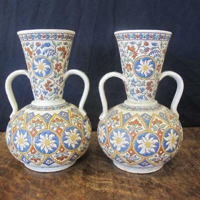 Art Nouveau Pair Of Thoune Thun Swiss Majolica Faience Pottery Vases