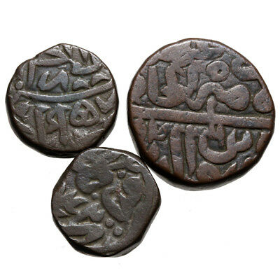 Lot Of 3 Thick Hammered Medieval India Coins , Uncertain