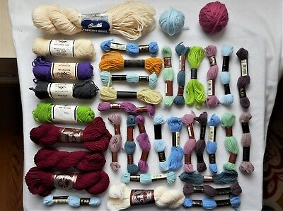 Mixed Lot of Pure Wool NOS Vintage Tapestry Needlepoint Yarn Elsa Williams & DMC