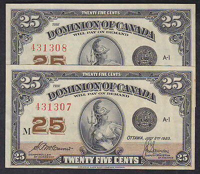 1923 Dominion Of Canada 25 Cents Bank Note Consecutive X2