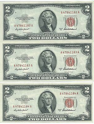 $2 Legal Tender  Group of  3 1953A insequence uncirculated notes 182/183/184