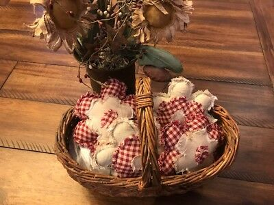 Farmhouse Ornies Bowl Fillers PrImITive Flowers Burgundy Tan Plaid Spring Summer