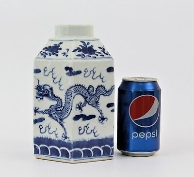 Fine 19th Century Chinese Kangxi Porcelain Blue White Dragon Tea Caddy Marked