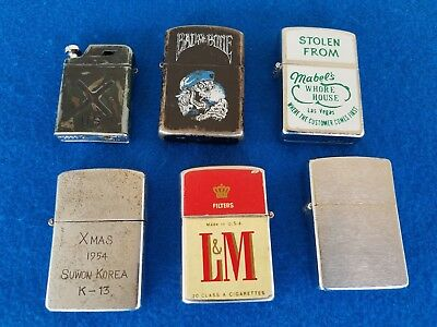 Vintage Lighter Lot 6 Zippo Konwal Penguin Advertising Parts Repair Restore Only