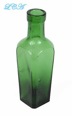Tiny SAMPLE miniature CASE GIN antique bottle GRASS GREEN color early BIM