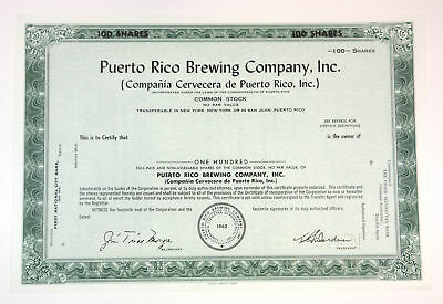 Puerto Rico Brewing Co 1962 Specimen 100 Shares Stock Certificate. Federated BNC
