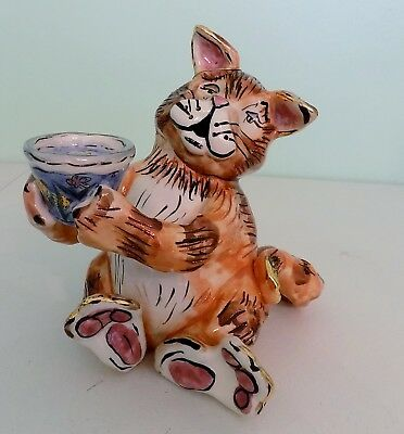 Blue Sky Claywork by Heather Goldminc-Ginger Cat w fishbowl tea lite candle hold