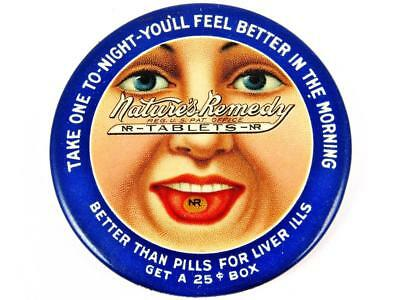 Antique Nature's Remedy Tablets Rare Blue Advertising Celluloid Pocket Mirror