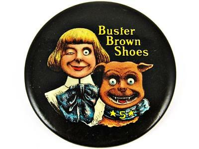 Antique Buster Brown Shoe's Tige Advertising Celluloid Pocket Mirror