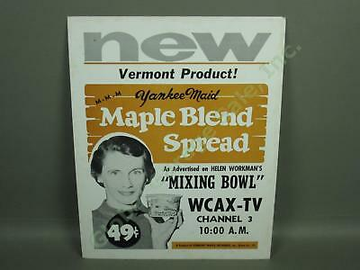 Vtg 1950s Vermont Maple Orchard Yankee Maid Advertisement Store Sign WCAX CH 3