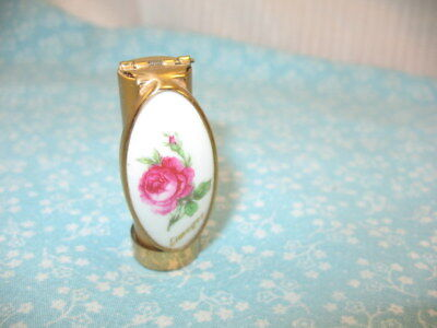 Vintage Patrys Lipstick Holder with Hinged Mirror Limoges Porcelain Purse Size