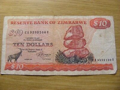 A 1983 Zimbabwe 10 Dollars Banknote -  Used  folds and dirty marks