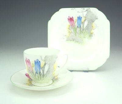 Shelley Porcelain - Crocus Pattern Trio - Cup Saucer & Tea Plate - Art Deco!