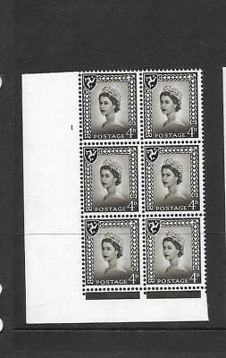 Isle of Man - 4d brown - cylinder block of 6 - cyl 1 NO DOT   - unmounted mint