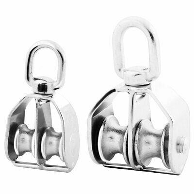 Home 304 Stainless Steel Hardware Double Rope Pulley Block Silver Tone M15 M25