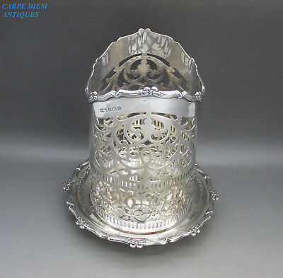 ANTIQUE EDWARDIAN SUPERB HEAVY SOLID SILVER BOTTLE/SYPHON HOLDER, 480g BIRM 1910