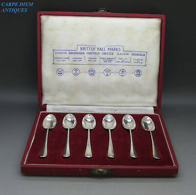 British Hallmarks Nice Cased Set 6 Solid Sterling Silver Cofffee Spoons, 1958