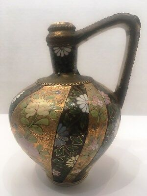 Antique Fischer Budapest Gold Hand Painted Moriage Ewer Bottle Rare