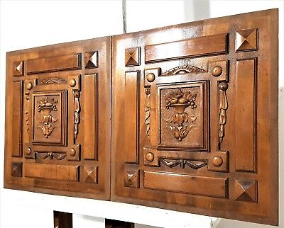 """Pair Hand Carved Wood Panel 19"""" Antique French Gothic Drapery Salvaged Panneling"""