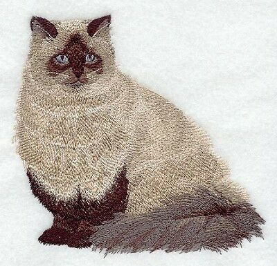 Embroidered Long-Sleeved T-Shirt - Himalayan Cat C7910