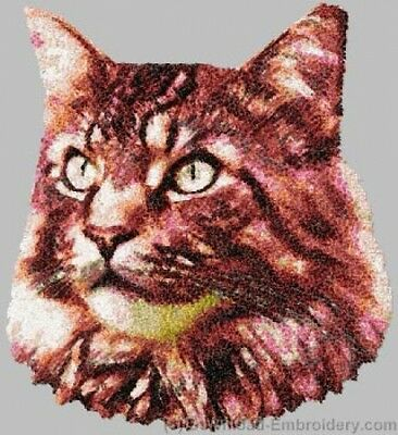 Embroidered Long-Sleeved T-Shirt - Maine Coon Cat DLE2658