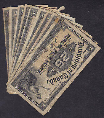 1900 Dominion Of Canada 25 Cents  Bank Note Lot Of 10