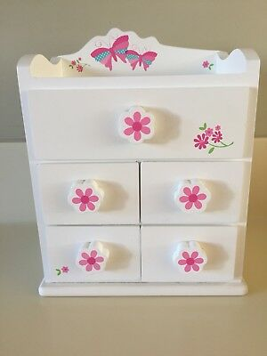 Girls Pretty Wooden ELC Jewellery Box With Drawers NEW Never Been Used