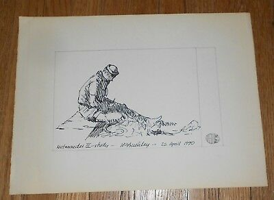 Original Ink Drawing by Harry E Buckley - signed - Netmender III