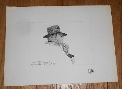 Original Ink Drawing by Harry E Buckley - signed - Figure XLIII Study II