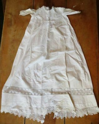 Antique Vtg EDWARDIAN Christening Gown BAPTISM 1910 Limerick Needlerun Lace