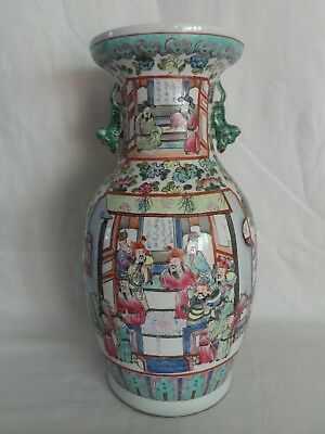 * Vase Porcelaine De Chine/canton Famille Rose Decor De Sages Tbe Xix-Xx Eme ?