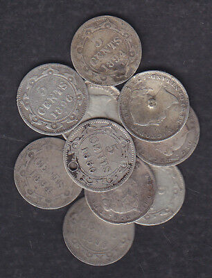 1865-96 Canada Newfoundland 5 Cents Silver Coin Lot Of 10