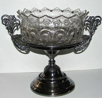 EAPG Glass Brides Bowl Ornate Aesthetic Etruscan Union Silver Plate Stand