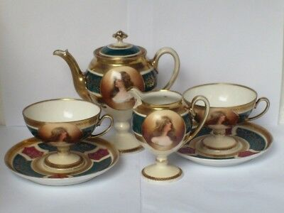 Antique Royal Vienna 4 Piece Tea / Coffee Set For Two c1890 ~ Signed Constance