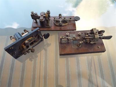 Lot Of 3 Telegraph Sounding Boards Antique Western Electric Vibroplex Stations