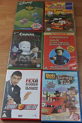 6 x DVD  FIREMAN  SAM, CASPERS, BOB THE BUILDER, BUGS LIFE, THE LITTLE CAR